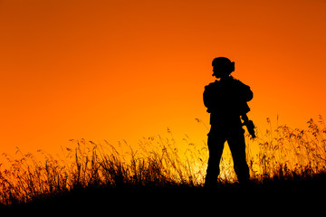 military soldier with weapons