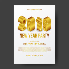 Happy new year poster template celebration with isometric 3d gold number. vector illustration.