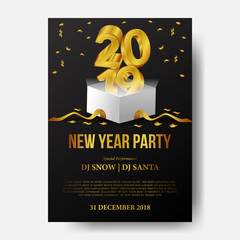 Happy new year poster template celebration with 3d gold number and open white box present and golden ribbon and confetti. vector illustration.