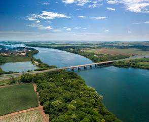 bridge between the states of sao paulo and minas gerais. Big River or Rio Grande in portuguese. October, 2018.