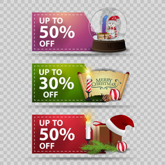 Three discount Christmas banners