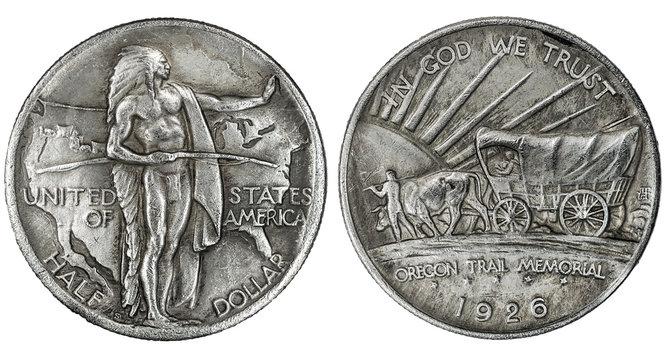 1926 Oregon Trail silver half dollar coin