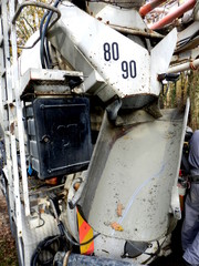 Cement chute used for pouring cement from a cement mixer lorry