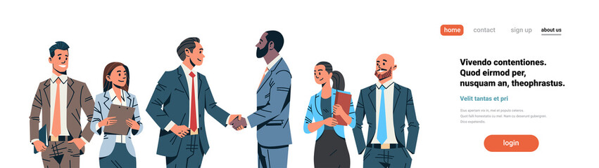 businessmen handshake agreement concept mix race business men team leader international partnership communication cartoon character isolated flat portrait horizontal copy space