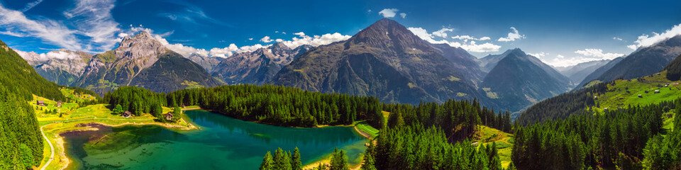 Arnisee with Swiss Alps. Arnisee is a reservoir in the Canton of Uri, Switzerland, Europe