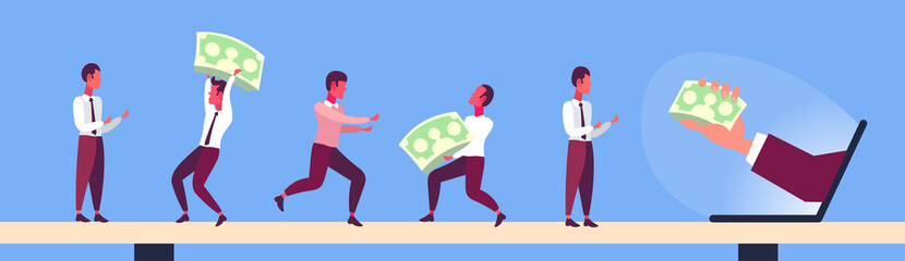 businessmen holding dollar banknotes from laptop monitor screen online income crowdfunding concept business people teamwork concept horizontal banner flat
