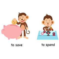Opposite to save and to spend vector illustration