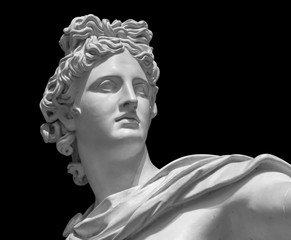 Foto auf Acrylglas Historisches Gebaude Portrait of a plaster statue of Apollo isolated on black