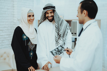 Happy Pregnancy Muslim Woman with Arabic Husband