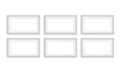 Six frames collage, mockup isolated on white background