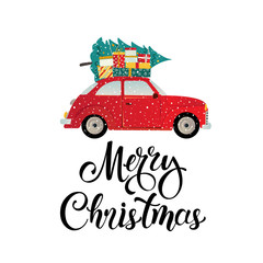 Merry christmas stylized typography. Vintage red car with christmas tree and gift boxes. Vector flat style illustration.