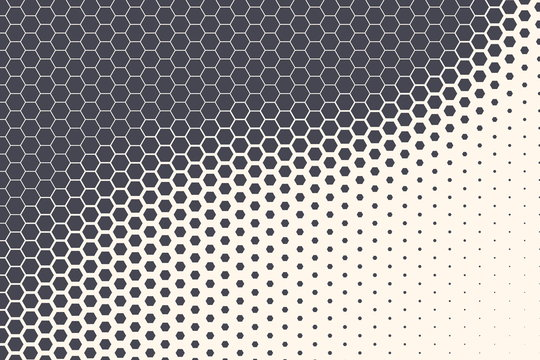 Hexagon Shapes Vector Abstract Geometric Technology Retrowave Sci-Fi Texture Isolated on Light Background. Halftone Hex Retro Simple Pattern. Minimal 80s Style Dynamic Tech Wallpaper