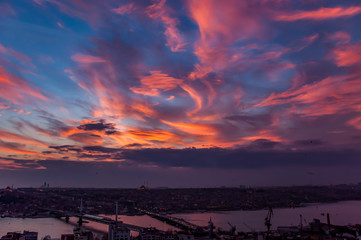 Amazing clouds and city landscape from Galata Tower at sunset, Istanbul, Turkey.