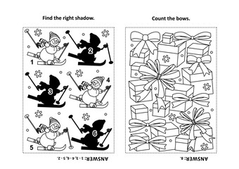 Two visual puzzles and coloring page for kids. Find the shadow for each picture of skiing sporty snowman. Count the bows. Black and white. Answers included.