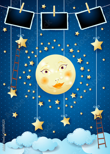 surreal night with full moon ladders and photo frames stock image