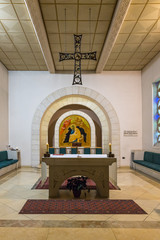 Altar in the lower hall in Church of Saint Peter in Gallicantu in Jerusalem, Israel