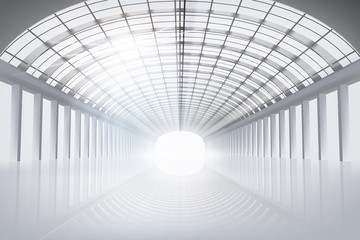 Empty hall, large space. Vector illustration.