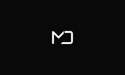 LETTER M AND D LOGO WITH NEGATIVE SPACE EFFECT FOR LOGO DESIGN OR ILLUSTRATION USE