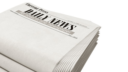 newspaper in stack 3d render on white no shadow