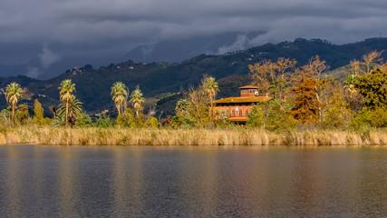 Beautiful view of Lake Massaciuccoli and Villa Ginori, Tuscany, Italy