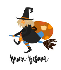 Cute vector art of old witch flying on broomstick with bag of presents. Holiday celebration character isolated on white. Buona Befana meaning Happy Epiphany handwritten lettering phrase
