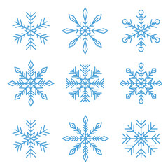 set of blue different snowflakes isolated on white background vector illustration EPS10