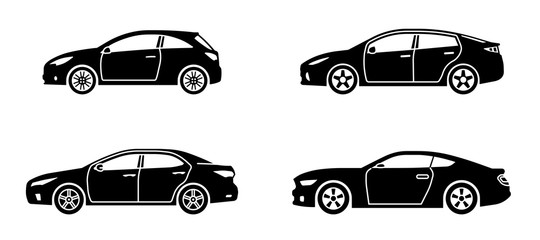 Set of personal cars. Set of automobiles in flat style. Sedan, sport coupe car, hatchback. Side view. Vector illustration. Wall mural