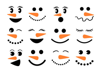 Cute snowman faces - vector collection. Snowman heads. Vector illustration isolated.