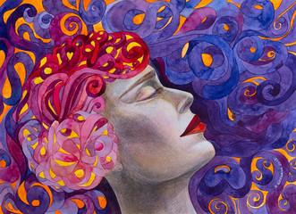 dipinto bella donna sogna meditazione