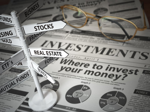 Investmments and asset allocation concept. Where to Invest? Newspaper and direction sign with investment options.
