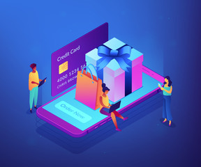 Customers with gadgets order now and buy presents on smartphone screen. Online gift purchase, gift shop application, mobile purchase concept. Ultraviolet neon vector isometric 3D illustration.