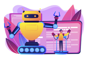 Engineer controlling big robot with remote technology. Remotely operated robots, robot control system, manipulation robotic system concept. Bright vibrant violet vector isolated illustration