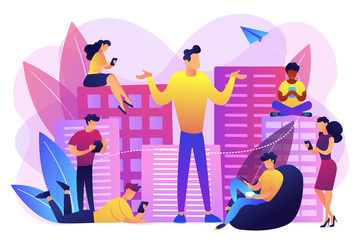 People in the city overusing mobile devices and a man feeling alone. Smartphone addiction, digital disorder, mobile device addiction concept. Bright vibrant violet vector isolated illustration
