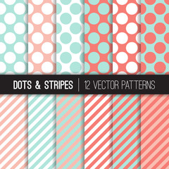 Pastel Mint and Coral Jumbo Polka Dot and Stripes Vector Patterns. Pastel Color Backgrounds for Wedding or Bridal or Baby Girl Shower Invites. Repeating Pattern Tile Swatches Included.