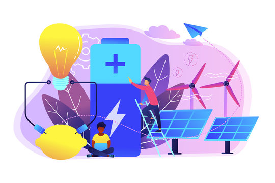 Scientists with lemon charging, solar pannels, wind turbines. Innovative battery technology, new battery creation, battery science project concept. Bright vibrant violet vector isolated illustration