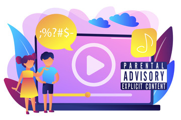 Children at laptop listening to music with parental advisory label warning. Parental advisory, explicit content, kids warning label concept. Bright vibrant violet vector isolated illustration