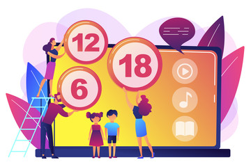 Adults rating content for children with age restriction signs. Content rating system, age limitation content, censorship classification concept. Bright vibrant violet vector isolated illustration