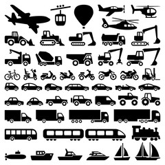 Transport icon collection - vector silhouette