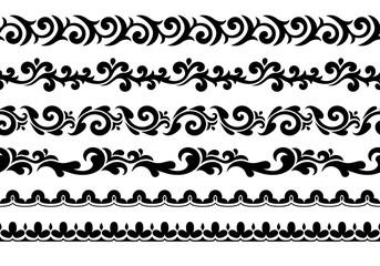 Decorative seamless borders vector set.
