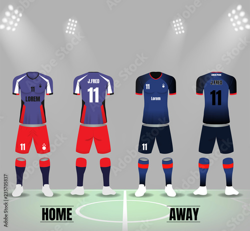 Front And Back Of Soccer Uniforms Template Vector