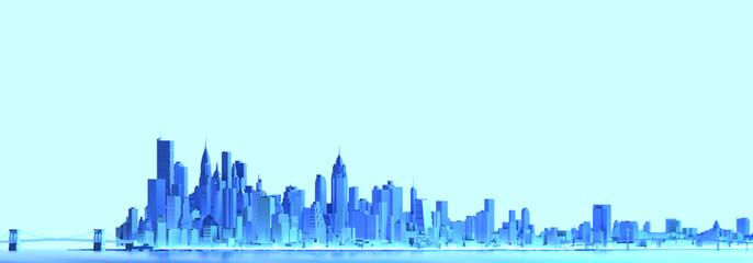 City panorama blue