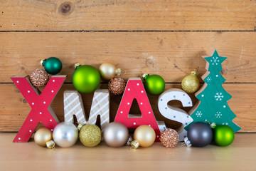 Christmas symbols decoration wooden xmas text
