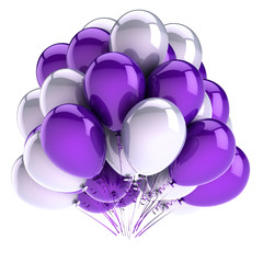 birthday balloons bunch purple white blue. party decoration beautiful. carnival celebration symbol colorful. 3d illustration