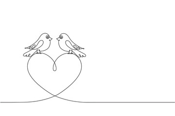 Couple of love birds and a heart. Continuous line drawing.