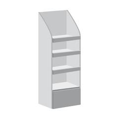 Rack shelves for supermarket floor showcases on a white background. Advertisement POS POI. Slender white. Layout template. Vector illustration. Isolated