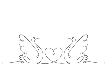 Swans. Couple of love birds and a heart. Continuous line drawing.