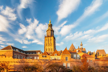 View at the medieval city center of the Dutch town Zutphen