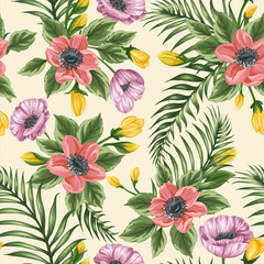 Floral seamless pattern with anemones and poppies