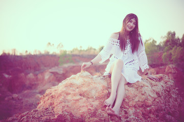 Portrait of bohemian woman on sunset,Lifestyle of modern thailand girl,Happy lady concept