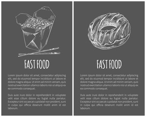 Fast Food Donut and Noodles Vector Illustration
